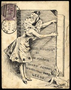 1901 (Aug. 29th) pen and ink illustrated envelope finely illustrated with a pictures of a girl and a winged cherub opening a large book over on which the address is written, sent from Bramley, Yorks., to Leeds