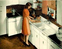 I want her drainboard sink, chevron patterned curtains, and cute hair/outfit :-)