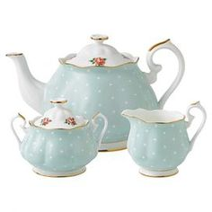 polka dot and roses fine bone china  perfect for your next Sunday brunch or ladies' luncheon.  Teapot, lidded sugar bowl and creamer