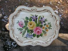 1950s Large Tole Tray  Handpainted Florals by TallTimberAntiques, $39.00