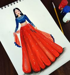 Fashion Illustration Poses, Fashion Illustration Tutorial, Fashion Drawing Tutorial, Fashion Design Books, Fashion Design Sketchbook, Dress Design Drawing, Dress Design Sketches, Fashion Drawing Dresses, Indian Fashion Dresses