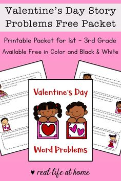 Free printable Valentine's Day math worksheets packet for - grade to work on some Valentine-themed story problems. (Can be used as math task cards) Math Worksheets, Printable Worksheets, Free Printables, Math Story Problems, Kindergarten Math Activities, Preschool, Valentines Day Words, Have Fun Teaching, Math Task Cards