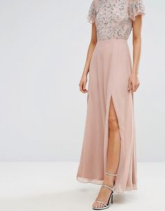 Frock and Frill   Frock & Frill Sequin Bodice Maxi Dress With Flutter Sleeve