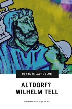 """Ein Hitzetag im August, die ganze Schweiz liegt in der Badi. Nur """"Frau Gute Laune"""" plant einen Ausflug in die Stadt. Nun gut, Altdorf ist für meinen Begriff eher Land als Stadt und zudem umgeben von hohen Bergen. Da lässt sich schon ein Sommerausflug planen. Tauchen wir also ein in ein Stück Schweizer Geschichte und machen uns auf die Suche nach dem ältesten Urner. #uri #altdorf Wilhelm Tell, Bergen, Alter, Blog, Comic Books, Comics, Good Mood, Diving, City"""