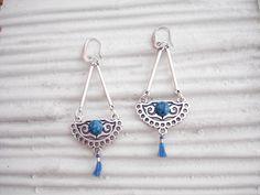 Blue tassel Moroccan earrings, Blue boho drops, Silver dangles, Tribal earrings, Arabian nights jewelry, Moroccan jewelry, Best friend gift. Moroccan Jewelry, Ethnic Jewelry, Unique Jewelry, Tribal Earrings, Drop Earrings, Arabian Nights, Gifts For Friends, Tassels, Dangles