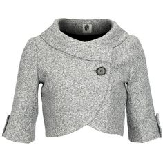 I gotta find this coat. ICHI Blazer Favo Soft grey, cropped and knitted blazer with 1/2 sleeve and a roomy collar. The jacket closes asymmetrically with a black button and blind popper. Also the ending of the sleeve features a black button. Style tip: Pair up with a dark grey, knitted sweater dress. 94% polyester, 6% viscose. Lining: 100% polyester.