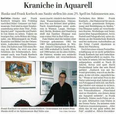Kraniche in Aquarell unter diesem Titel berichtet die OstseeZeitung über unsere Ausstellung