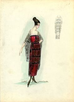 """""""Evening Dress, Callot Soeurs, 1917. Red strapless dress, ankle length, black lace or net overskirt with black tassels along side; black lace or net shawl; Spanish style. (Bendel Collection, HB 021-37)"""", 1917. Fashion sketch. Brooklyn Museum, Fashion sketches. (Photo: Brooklyn Museum, SC01.1_Bendel_Collection_HB_021-37_1917_Callot_SL5.jpg)"""