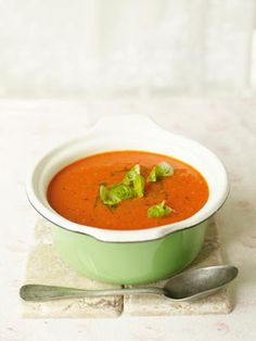 Abundance Tomato Soup with Basil :  If your tomato plants are groaning under the weight of all their ripe fruit, or even if you've just got some over-ripe tomatoes to use up, then this is a great soup to have up your sleeve.