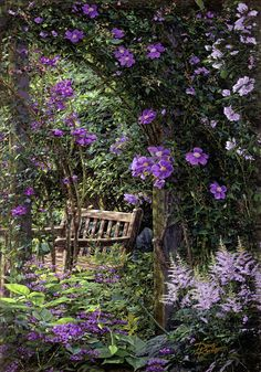 painting gardens in a landscape artists | Violet Garden Respite Painting - Violet Garden Respite Fine Art Print