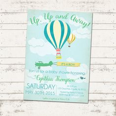 Up Up and Away Baby Shower or Birthday Invitation by ValeriePullam