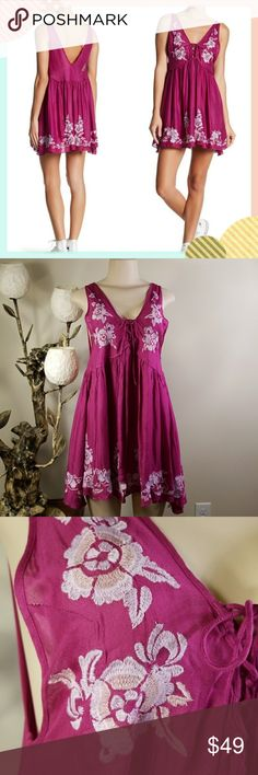 """Free People Embroidered  Aida Slip Dress Brand new with tag - Deep V-neck with lace up tie - Sleeveless - V-back - Empire waist - Embroidered detail - Hi-lo hem - Woven construction - Approx. 30"""" shortest length, 35"""" longest length  - Imported Care Machine wash cold Additional Info Fit: this style fits true to size. Free People Dresses"""