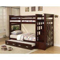 Allentown Espresso Twin Bunk Bed with Storage Stairway Drawers Trundle