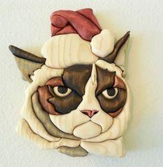 "Humbug"" grumpy cat wood intarsia"