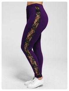 216b40d70a7 Gamiss 2017 Leggings Plus Size Lace Insert Sheer Spandex Casual Fitness Leggings  Female Pants Fall Women Workout Leggings
