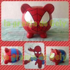 Spiderman Spiderman, Batman, Superhero Room, Mini Pigs, Piggy Banks, Little Monkeys, Money Box, Pottery Painting, Painting For Kids