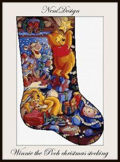 Winnie the Pooh christmas stocking cross stitch pattern, christmas cross stitch, disney cross stitch, disney pattern, disney Winnie the Pooh Disney Stockings, Disney Christmas Stockings, Cross Stitch Christmas Stockings, Cross Stitch Stocking, Xmas Cross Stitch, Cross Stitch Love, Christmas Cross, Cross Stitch Embroidery, Cross Stitch Patterns