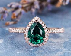 HANDMADE RINGS & BRIDAL SETS by MoissaniteRings on Etsy Rose Gold Emerald Ring, Bridal Ring Sets, Handmade Rings, Topaz, Gold Rings, Sapphire, Unique Jewelry, Engagement Rings, Jewels