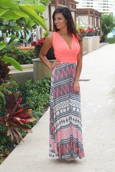 Neon Coral Tie Back Maxi Dress