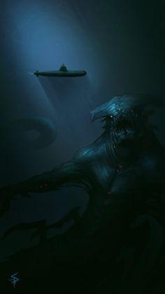 sea monster, Aleksandr Plihta on ArtStation at https://www.artstation.com/artwork/n888X