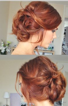 Beautiful, messy updo! Love the color as well.