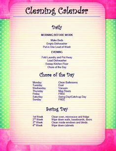 Weekly Chore Chart! Frame it with a dry erase marker if you need to check things off :) totally makes sense Adult Chore Chart, Weekly Chore Charts, Weekly Chores, Chore Chart Kids, Clean House Schedule, House Cleaning Checklist, Cleaning Schedules, Cleaning Hacks, Housework Schedule