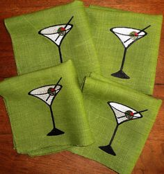 Embroidered Linen Cocktail Napkins