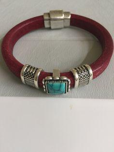 Silver and Turquoise Slides Leather Bracelet by joytoyou41 on Etsy
