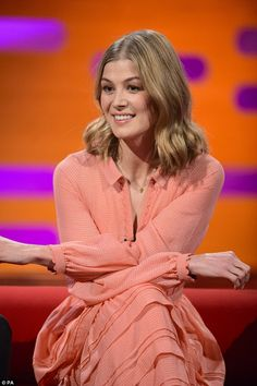 Practice makes perfect: Rosamund Pike, 37, revealed she had an unusual method when it came to rehearsing her Gone Girl sex scenes, when she appeared on The Graham Norton Show
