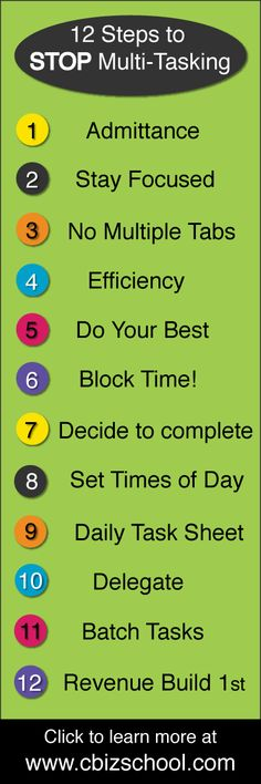12 Steps to stop multitasking!  Read more at www.cbizschool.com #productivity #multitasking #creativebiz