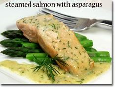 Steamed Salmon and Asparagus with Mustard Dill Sauce - serves 4 at 480 cals each!