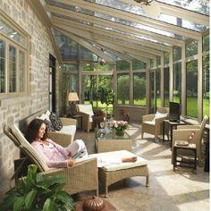 Solarium for hot tub Sunroom Decorating, Sunroom Ideas, Exterior Design, Home Interior Design, Outdoor Spaces, Outdoor Living, Sunroom Addition, Casas Containers, Enclosed Patio