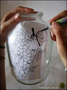 Discover thousands of images about image Painting Glass Jars, Painted Glass Bottles, Glass Painting Designs, Glass Bottle Crafts, Wine Bottle Art, Painted Jars, Painted Wine Glasses, Bottle Painting, Decorated Bottles