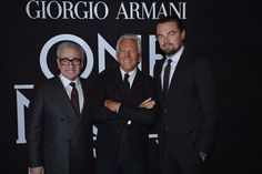 Martin Scorsese, Giorgio Armani and Leonardo DiCaprio. Martin Scorsese, Giorgio Armani, Armani Prive, Leonardo Dicaprio, Fashion News, Fashion Show, Modelos Fashion, Wolf Of Wall Street, Host A Party