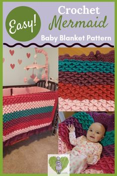 Crochet Baby Blanket Crochet this Beautiful Baby Blanket for that special Mer-Baby in your Life! Mermaid Blanket Pattern, Mermaid Baby Blanket, Crochet Mermaid Blanket, Easy Knit Baby Blanket, Baby Mermaid, Crochet Blanket Patterns, Crochet Blankets, Knitting Patterns, Crochet Ideas
