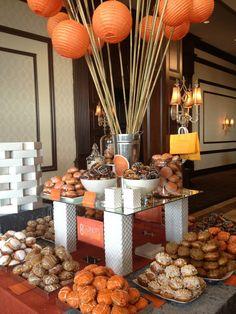 Donut table Orange Lantern Centerpiece Yummy Donut Buffet Orange color theme