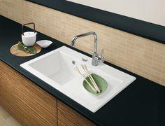 Villeroy & Boch Subway Alpine White CeramicPlus Single Bowl Sink - x White Ceramic Kitchen Sink, Modern Kitchen Sinks, Ceramic Sink, New Kitchen, Kitchen Ideas, Villeroy Boch Subway, Single Bowl Sink, Alpine White, Ceramic Materials