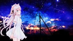 Anime Wallpaper Night Sky Nekomimi NekoGirl KawaiGirl