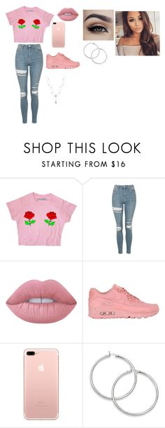 """""""Pink part 5"""" by kayla-owen ❤ liked on Polyvore featuring Topshop, Lime Crime and NIKE"""