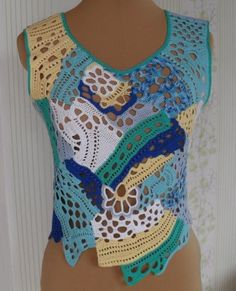 (1) Одноклассники Crochet Wool, Freeform Crochet, Crochet Blouse, Free Crochet, Crochet Summer Tops, Crochet Instructions, Irish Lace, Crochet Squares, Crochet Basics