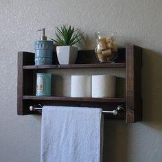 modern rustic 2 tier bathroom shelf with 18 satin nickel. Black Bedroom Furniture Sets. Home Design Ideas