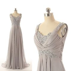 Fashion Gray V Neck Prom Dresses,Sexy Long Ruched Beaded Chiffon Evening Gowns
