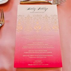 Pink ombre menu cards with gold print. Looks expensive but could possibly find ombre paper and print them yourself.