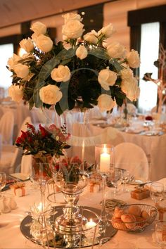 white and red table centerpiece, by Odyssey Events