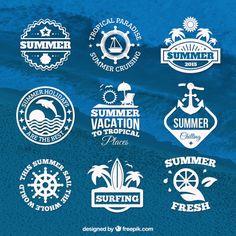 Summer badges Free Vector