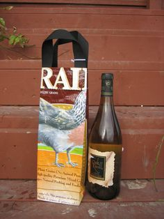 Wine Bottle Bag Upcycled Chicken Feed Bag Gift by FarmtownTotes, $8.00