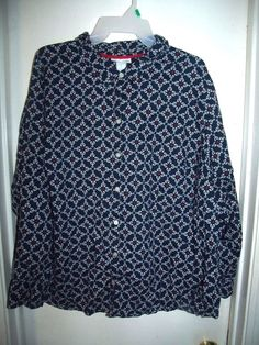 Catherines Blue White Red Geometric Print Button Front L/S Top Size 2X 22/24W #Catherines #ButtonFront