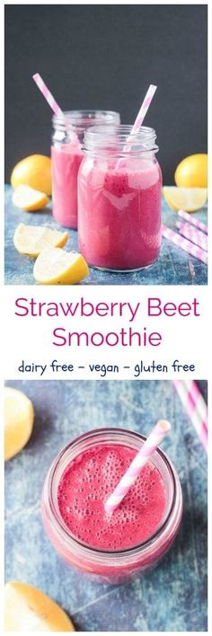 Strawberry Beet Smoothie - dairy free smoothie w/ the sweetness of berries & banana & the earthiness of beets. A little spiciness from cinnamon & ginger & some zesty tang from lemon juice. Loads of plant protein, minerals, & healthy fats from flax & hemp seeds. It's the perfect balance of healthy nutrition & yummy treat. Drink it up for breakfast or a midday snack to reenergize. This cleansing drink will leave you feeling refreshed. #vegan #smoothie #drink #dairyfree #healthyrecipes