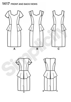 Simplicity 1417 Misses' and Women's Amazing Fit Peplum Dress Sewing Pattern