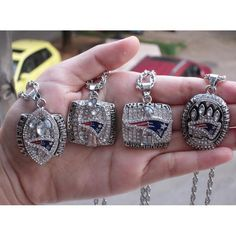 2001 2003 2004 2015 - 2014 New England Patriots World Championship Ring Pendant 1 set 4 Together wholesale fan gift Nfl Championship Rings, Nfl Championships, World Championship, Men Necklace, Dog Tag Necklace, Pendant Necklace, Patriots Superbowl, Nfl New England Patriots, Pendant Set